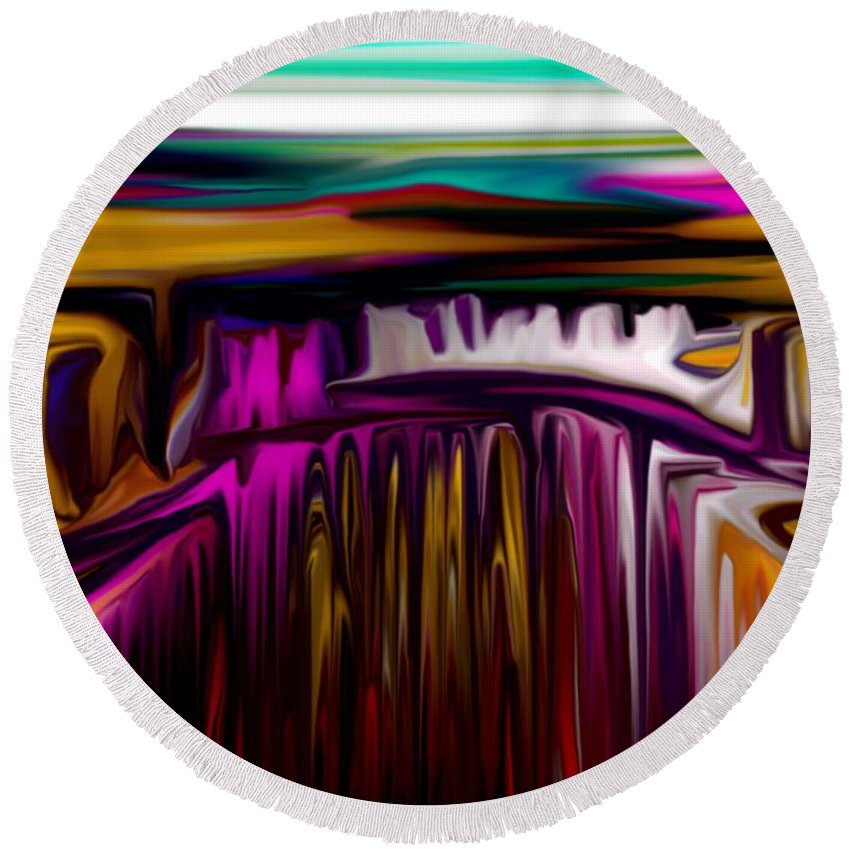 Abstract Round Beach Towel featuring the digital art Melting by David Lane