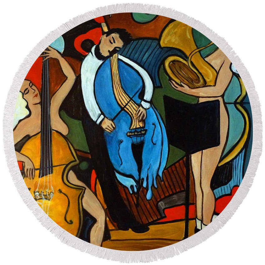 Musician Abstract Round Beach Towel featuring the painting Melting Jazz by Valerie Vescovi