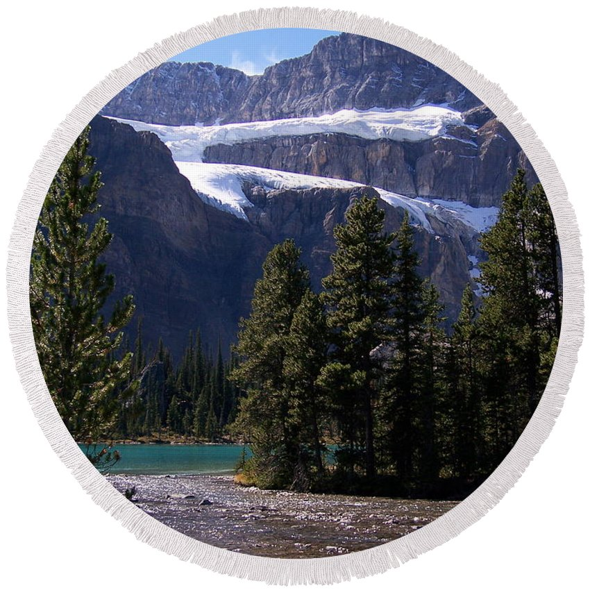 Meltwater Round Beach Towel featuring the photograph Meltwater by Greg Hammond