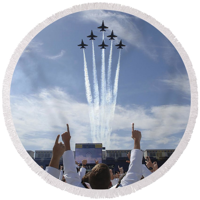 Education Round Beach Towel featuring the photograph Members Of The U.s. Naval Academy Cheer by Stocktrek Images