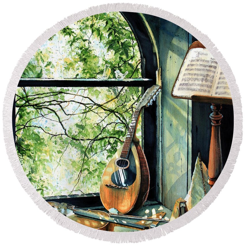 Memories And Music Round Beach Towel featuring the painting Memories And Music by Hanne Lore Koehler