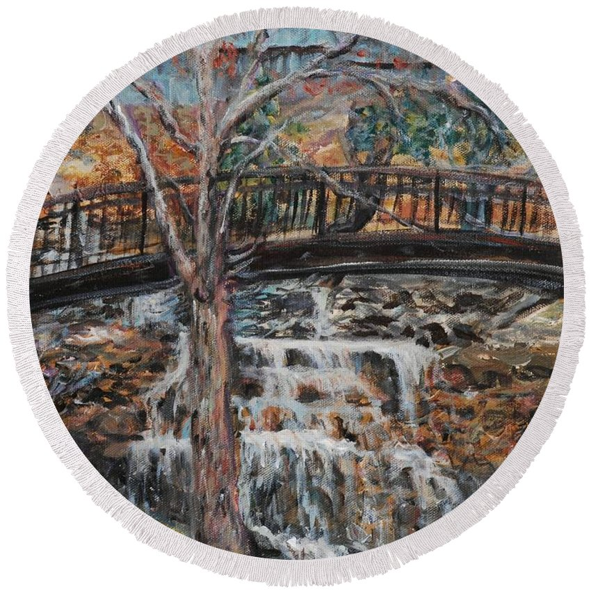 Waterfalls Round Beach Towel featuring the painting Memories by Nadine Rippelmeyer