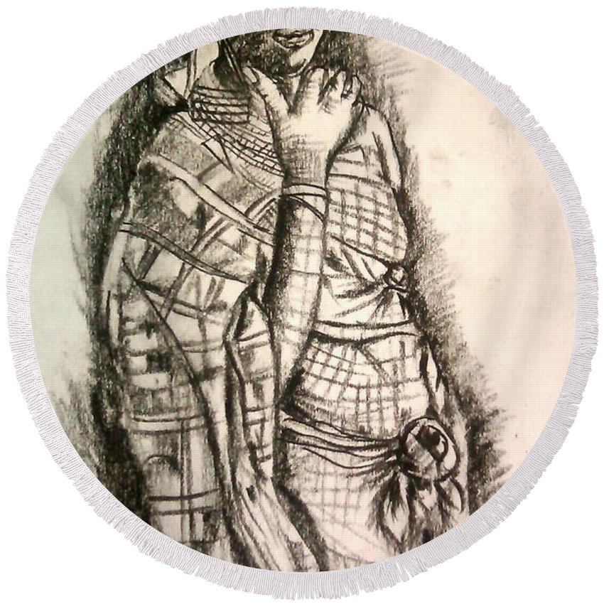 Charcoal Round Beach Towel featuring the drawing Memories Of Africa by Olaoluwa Smith