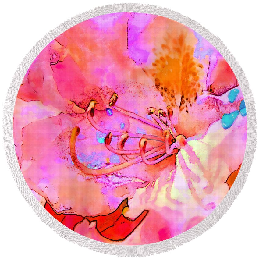 Flower Round Beach Towel featuring the digital art Memories Of Spring by William Sargent