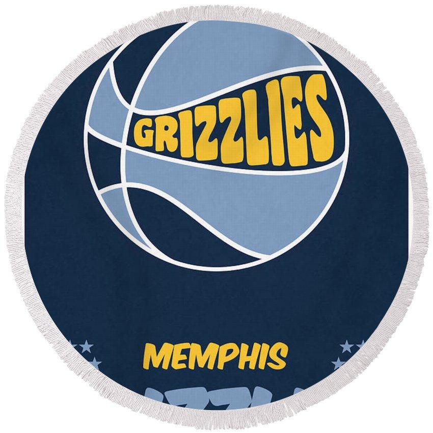 Grizzlies Round Beach Towel featuring the mixed media Memphis Grizzlies Vintage Basketball Art by Joe Hamilton