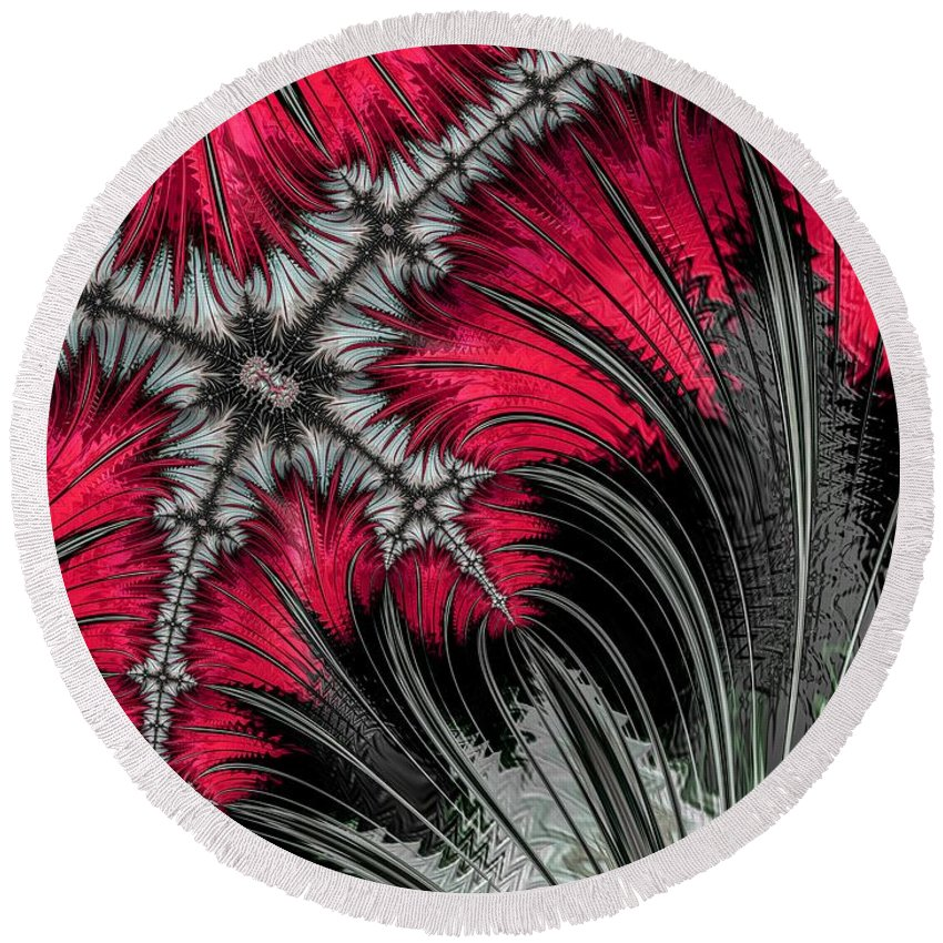 Fractal Round Beach Towel featuring the photograph Menacing Approach by Constance Sanders