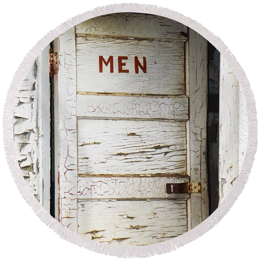 Men's Room Round Beach Towel featuring the photograph Men's Room by Marilyn Hunt