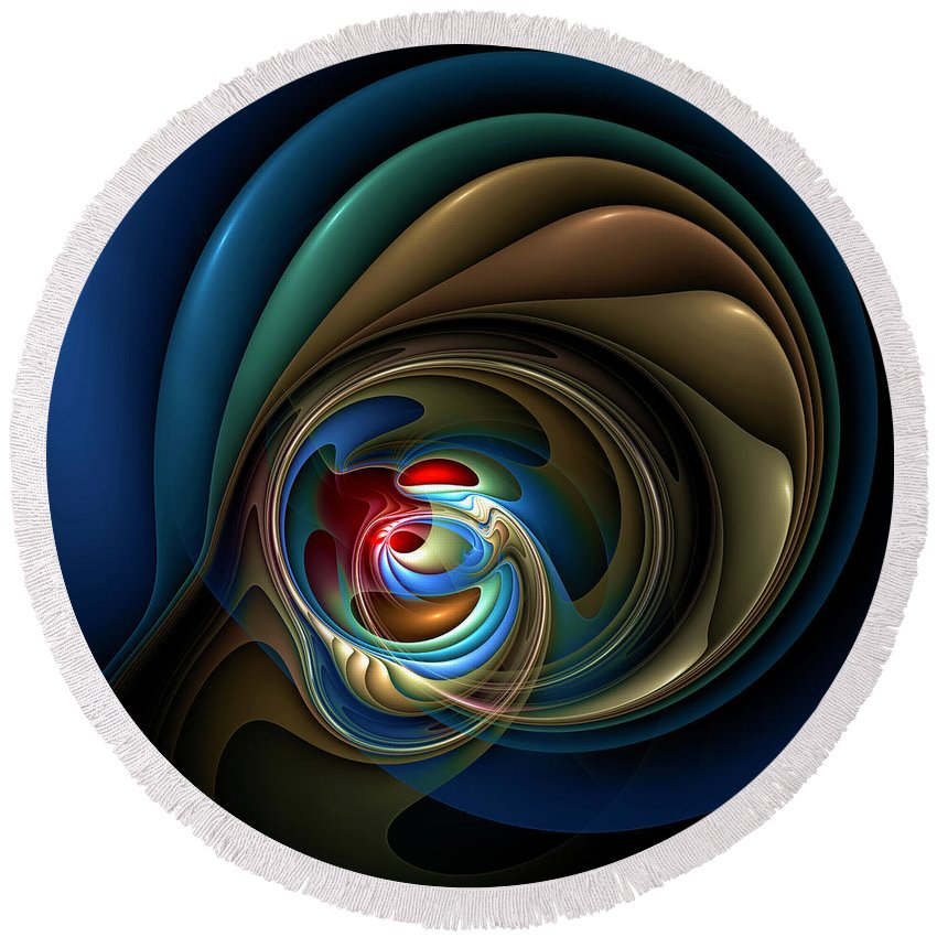 Abstract Round Beach Towel featuring the digital art Mental Squirrel Cage by Casey Kotas
