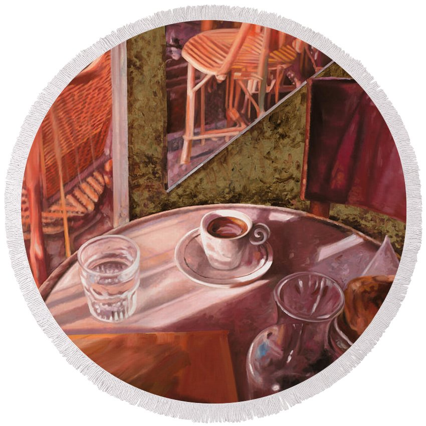 Caffe Round Beach Towel featuring the painting Mentre Ti Aspetto by Guido Borelli