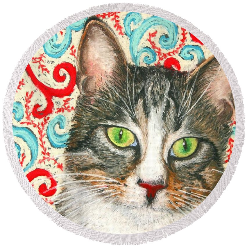 Cat Round Beach Towel featuring the painting Meow Please... by Minaz Jantz