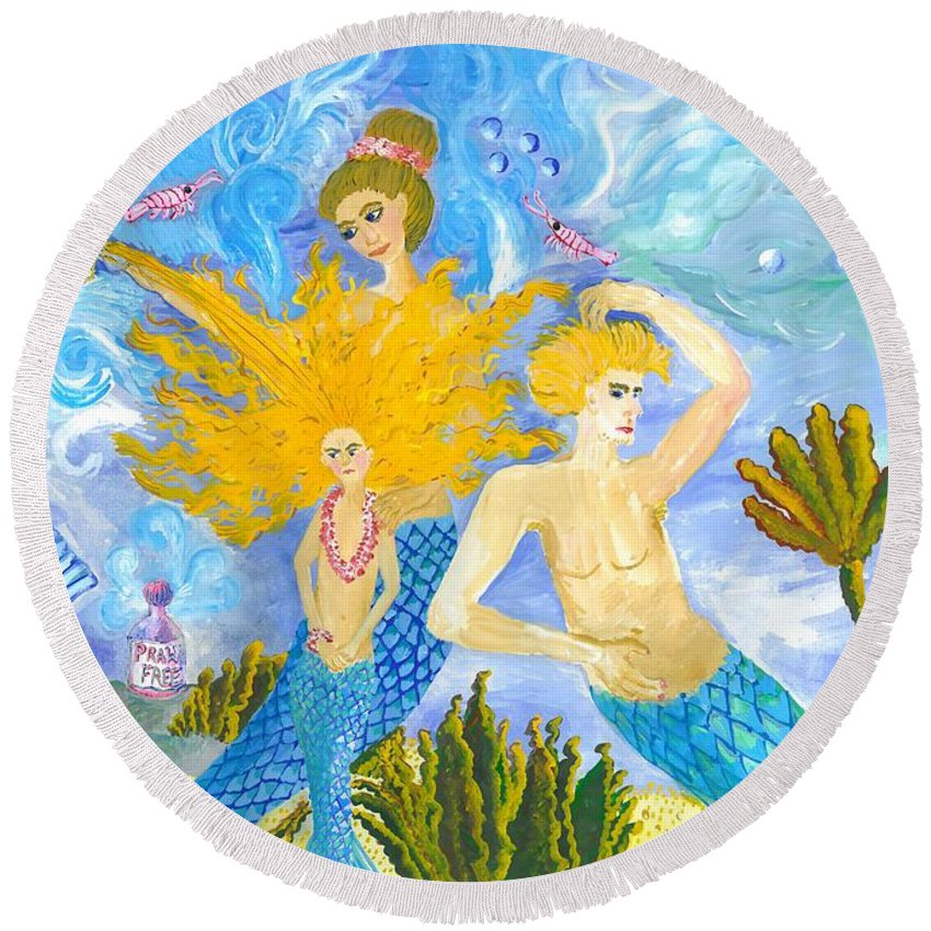 Sue Burgess Round Beach Towel featuring the painting Mer Mum And Comb by Sushila Burgess