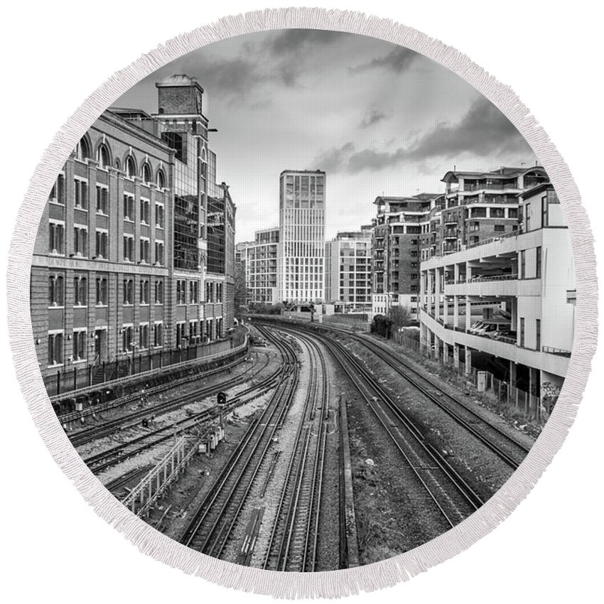 B&w Round Beach Towel featuring the photograph Merging Tracks by Shawn Williams