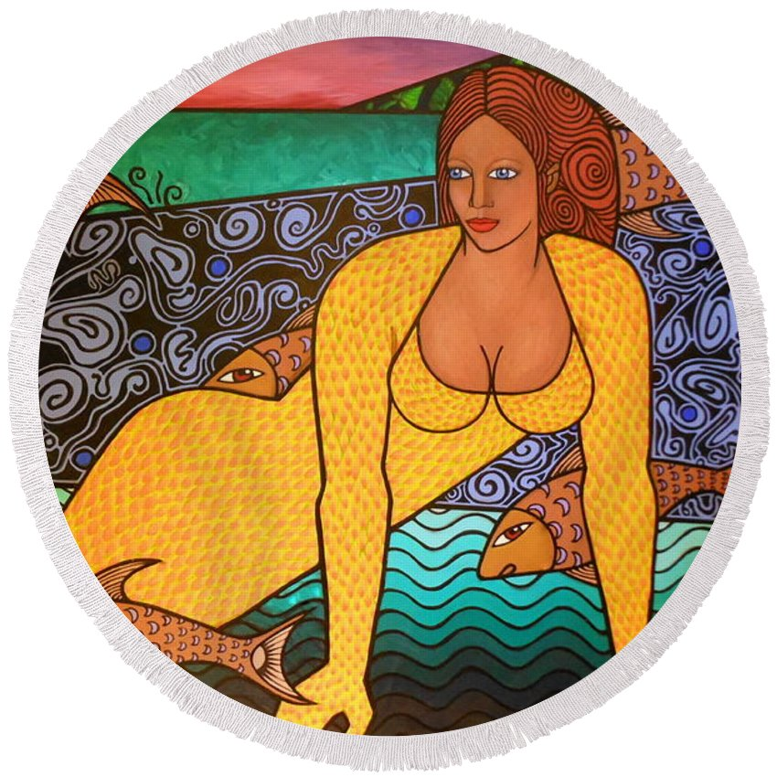 Figures With Fish Round Beach Towel featuring the painting Mermaid And Friends by Bryon Stewart