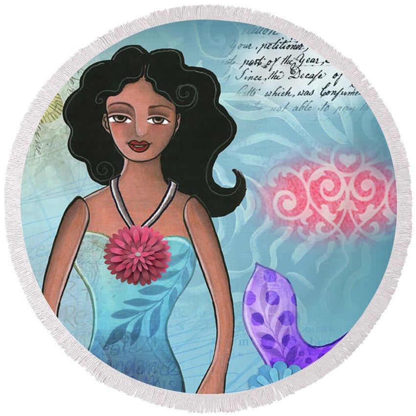 Mermaid Round Beach Towel featuring the mixed media Mermaid Dream 1 by Elaine Jackson