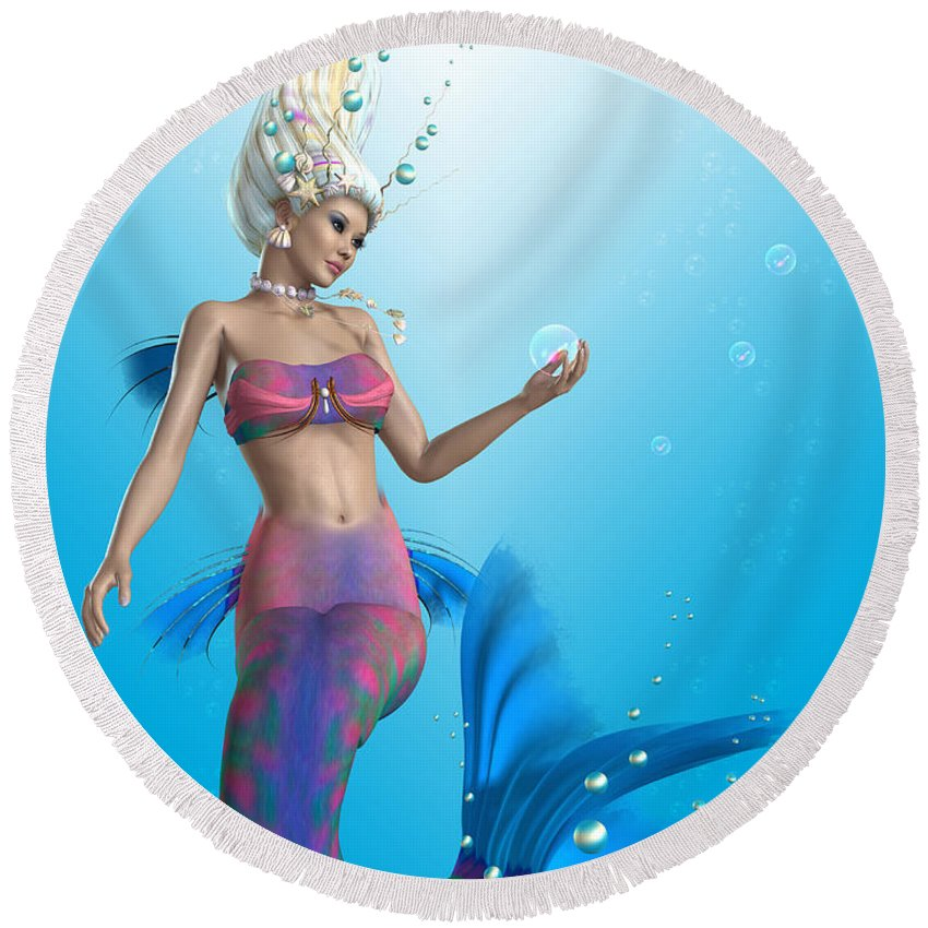 Mermaid Round Beach Towel featuring the painting Mermaid In Aqua by Corey Ford