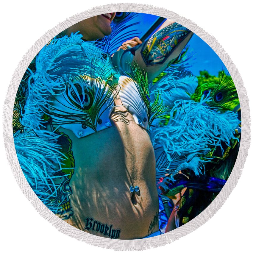 Tattoo Round Beach Towel featuring the photograph Mermaid Parade Participant by Chris Lord