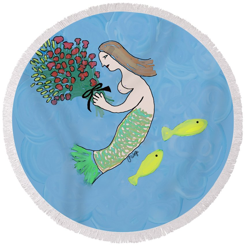 Mermaid Round Beach Towel featuring the painting Mermaid by Priscilla Wolfe