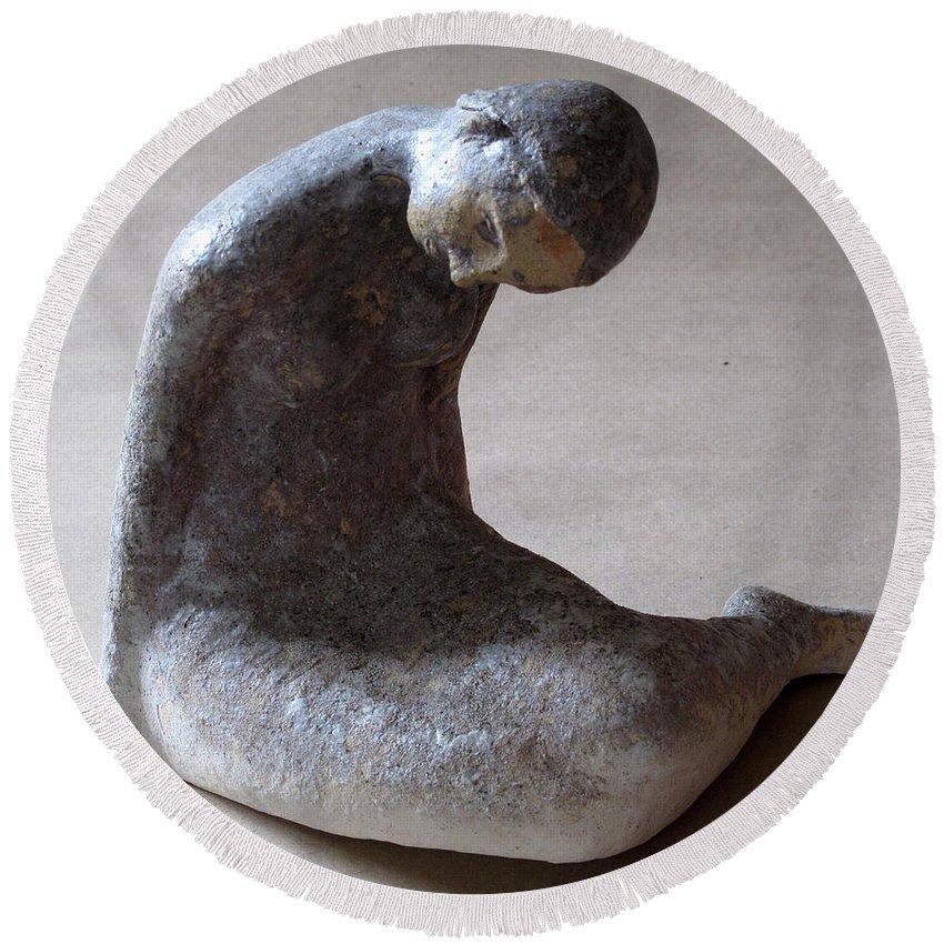 Sculpture Round Beach Towel featuring the sculpture Mermaid by Raimonda Jatkeviciute-Kasparaviciene