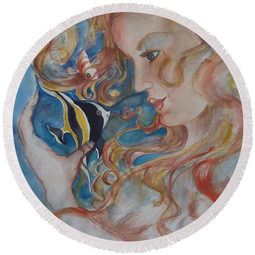 A Kiss From The Mermaid To A Morish Idol. Mermaid Round Beach Towel featuring the painting Mermaids Kiss by Charme Curtin