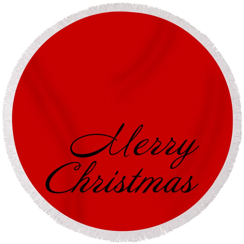 Merry Christmas Round Beach Towel featuring the digital art Merry Christmas In Black by Custom Home Fashions