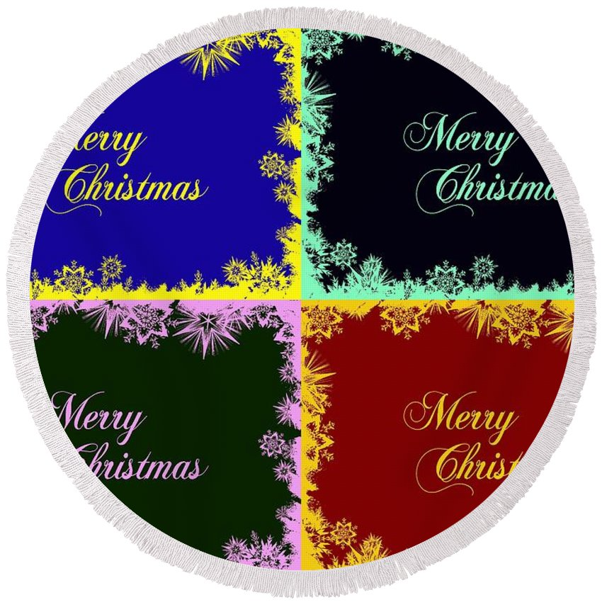 Merry Round Beach Towel featuring the digital art Merry Christmas Pop Art by Snowflake Obsidian