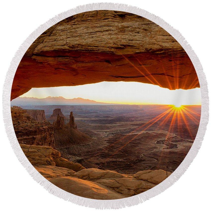Mesa Arch Sunrise Canyonlands National Park Moab Utah Round Beach Towel featuring the photograph Mesa Arch Sunrise - Canyonlands National Park - Moab Utah by Brian Harig