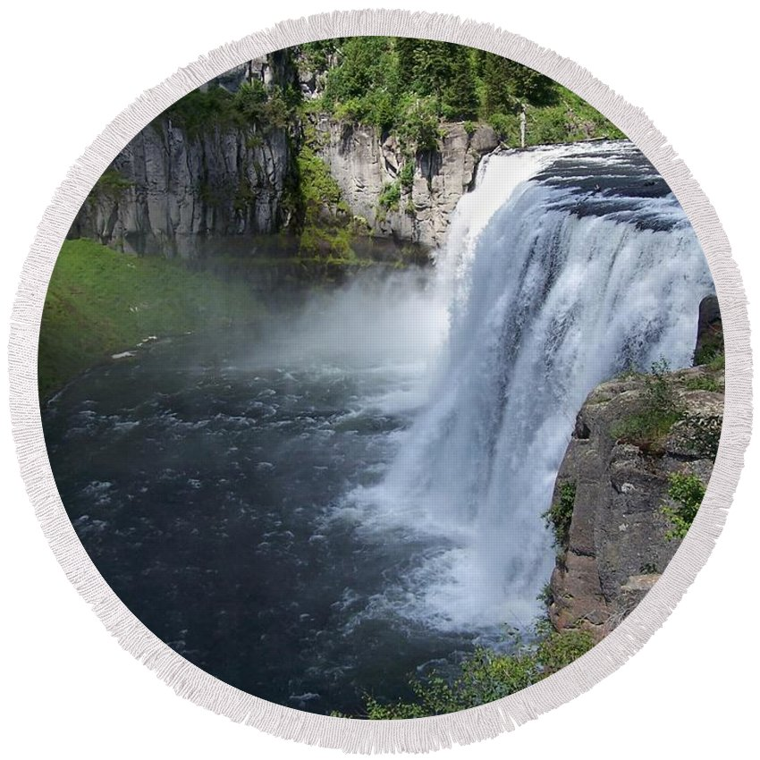 Landscape Round Beach Towel featuring the photograph Mesa Falls by Gale Cochran-Smith