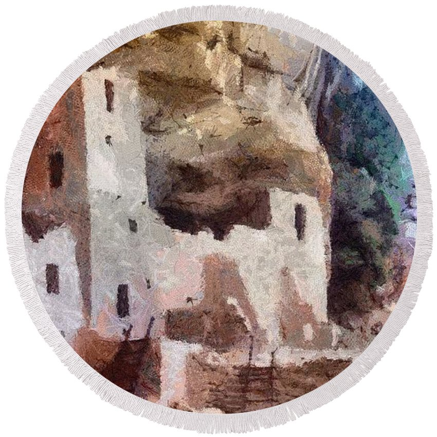 American Southwest Round Beach Towel featuring the painting Mesa Verde by Jeffrey Kolker