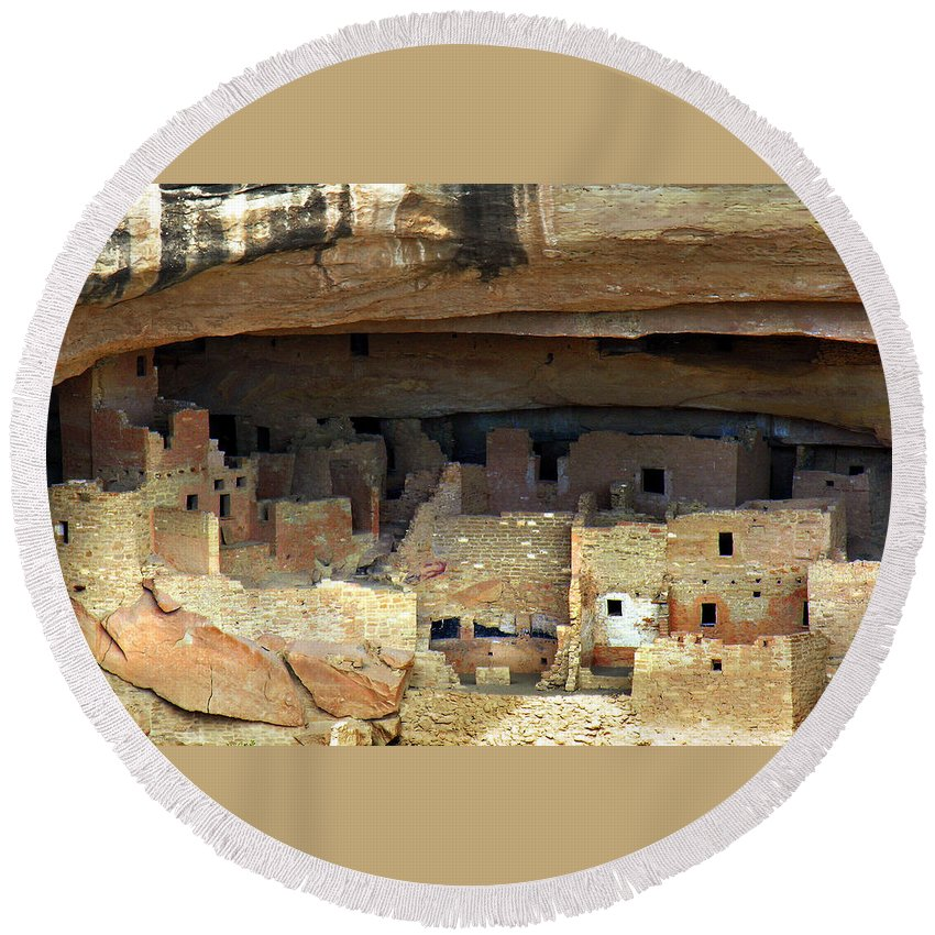 Americana Round Beach Towel featuring the photograph Mesa Verde by Marilyn Hunt