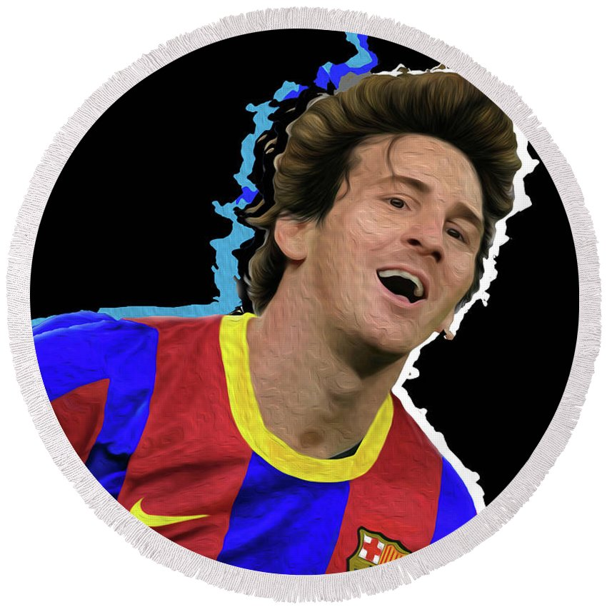 Messi Painting By By Nicholas Nixo Efthimiou Round Beach Towel featuring the painting Messi 3498 By Nicholas Nixo Efthimiou by Supreme Inc