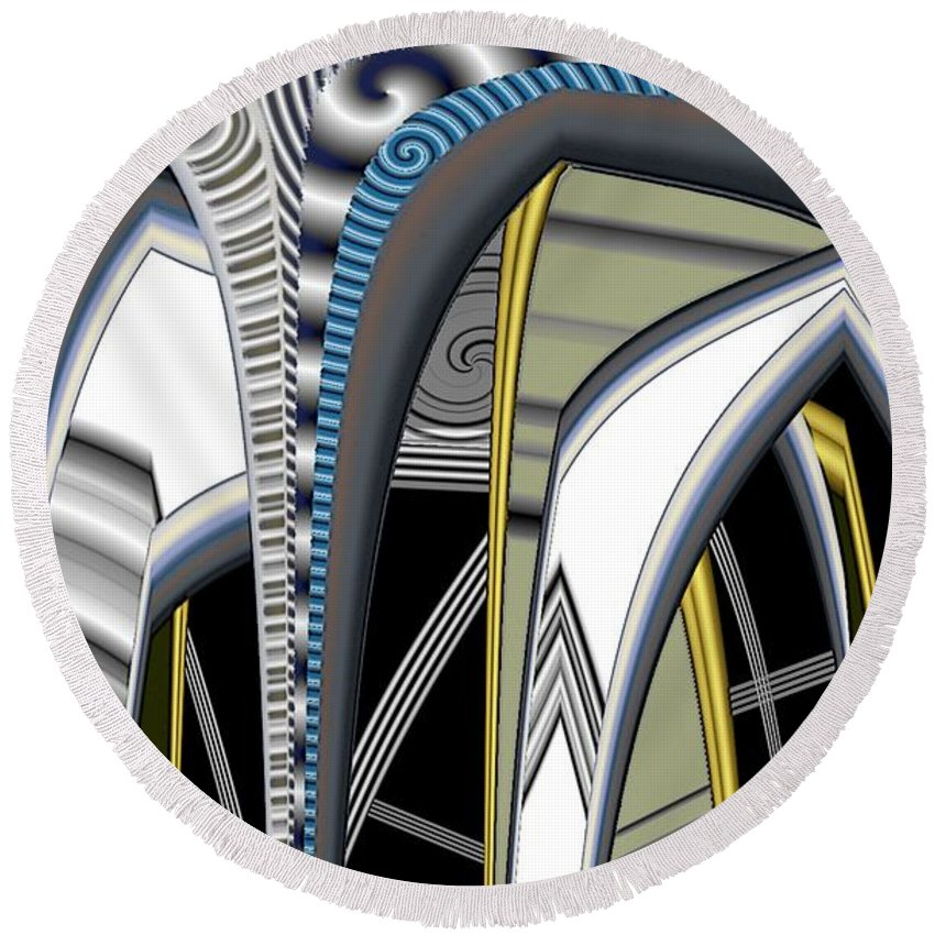 Pimped Metal Round Beach Towel featuring the digital art Metalic 1 Pimped by Ron Bissett