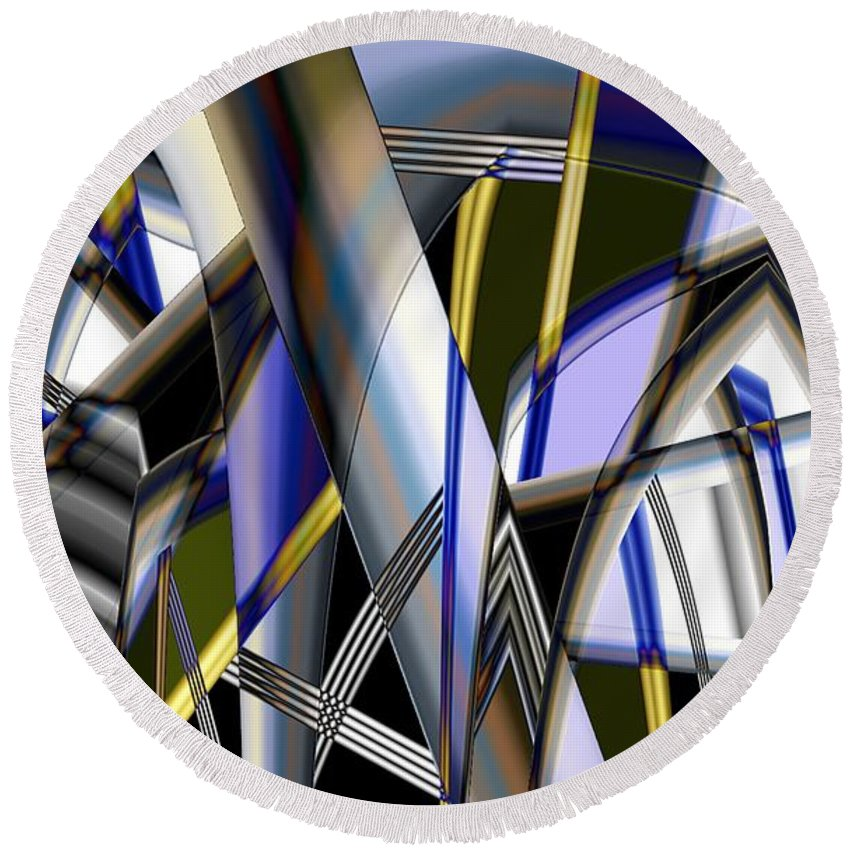 Round Beach Towel featuring the photograph Metallic 3 by Ron Bissett