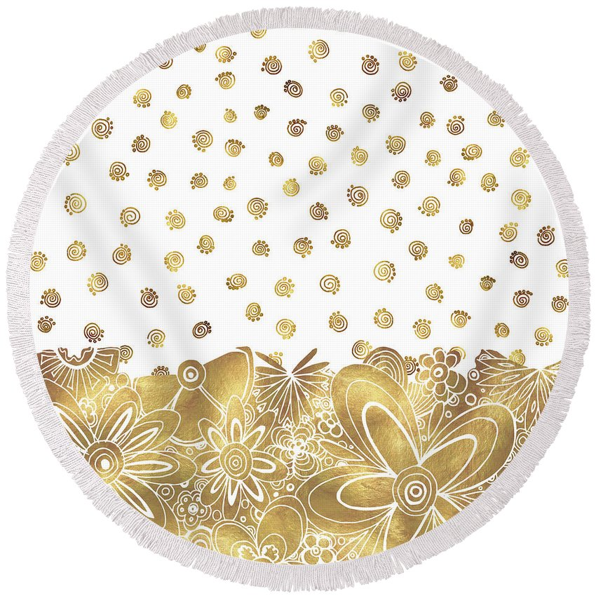 Gold Round Beach Towel featuring the painting Metallic Gold Floral Flower Swirls Trendy Unique Art By Madart by Megan Duncanson