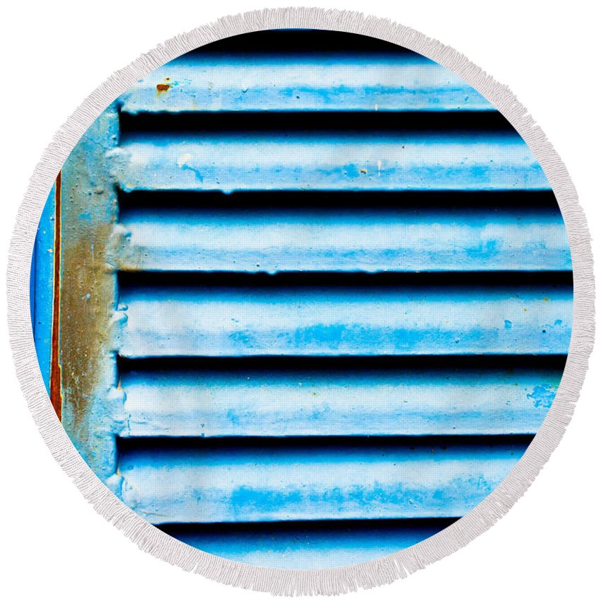 Abstract Round Beach Towel featuring the photograph Metallic Shutter by Tom Gowanlock