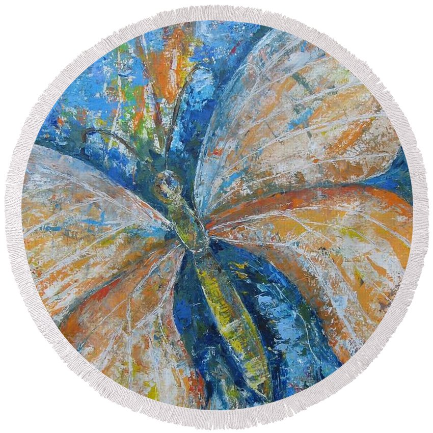 Painting Round Beach Towel featuring the painting Metamorfozy I by Stella Velka