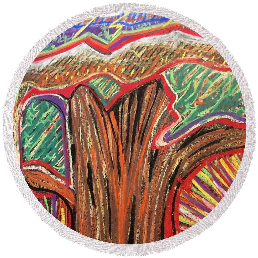 Tree Pastel Surreal Metamorphosis Petrified Wood Redwood Round Beach Towel featuring the painting Metamorphosis Of The Great Tree Into Petrified Wood by Michael Richardson