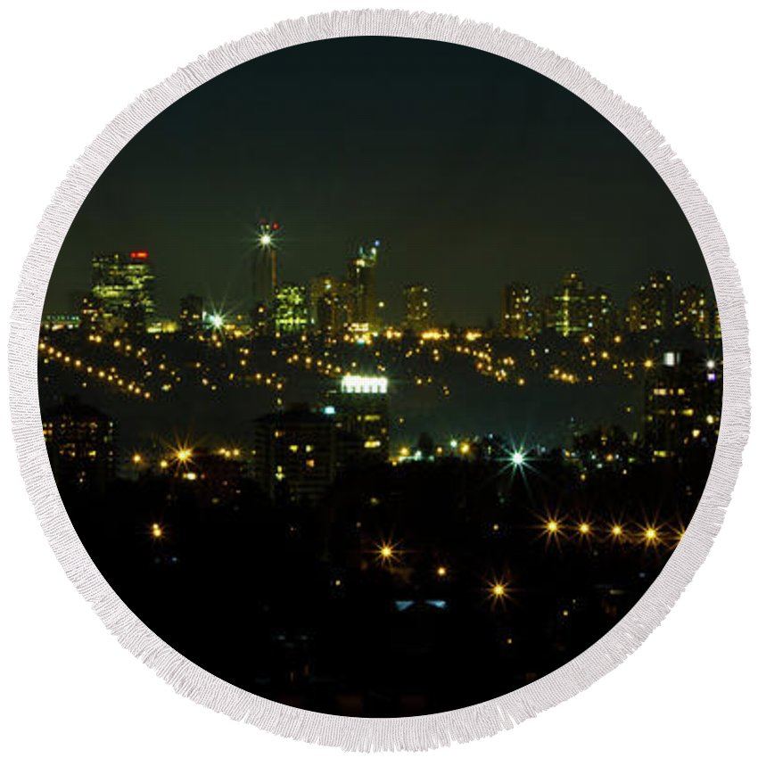 City Round Beach Towel featuring the photograph Metro Town by Redjule Photography