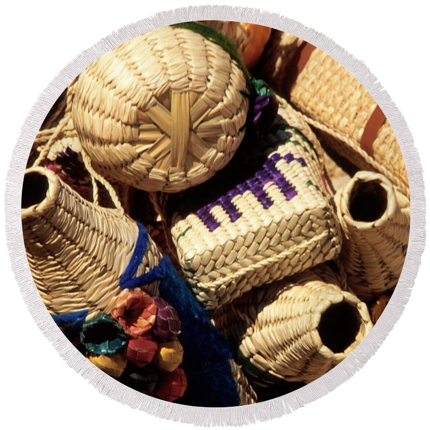 Mexico Round Beach Towel featuring the photograph Mexican Baskets by Jerry McElroy