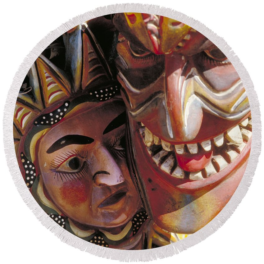 Color Round Beach Towel featuring the photograph Mexican Masks by Jerry McElroy