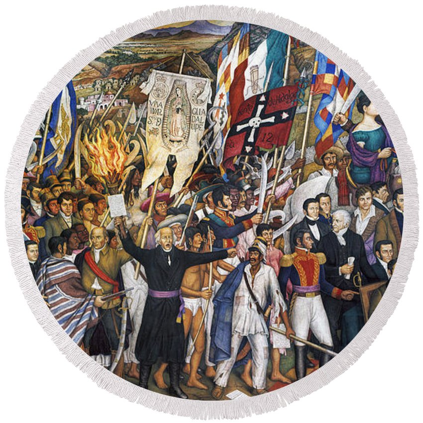 1810 Round Beach Towel featuring the photograph Mexico: 1810 Revolution by Granger