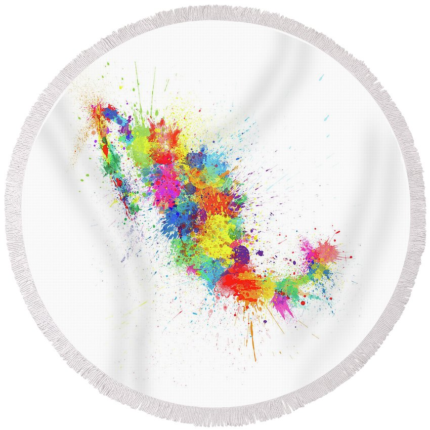 Mexico Map Round Beach Towel featuring the digital art Mexico Paint Splashes Map by Michael Tompsett