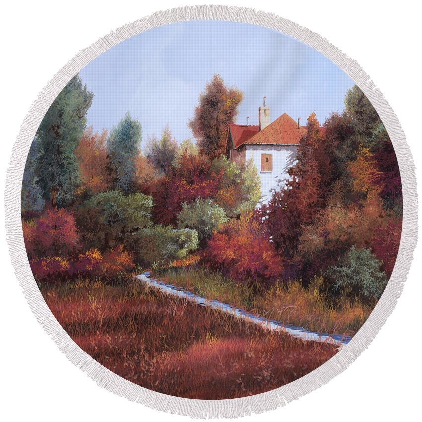 Landscape Round Beach Towel featuring the painting Mezza Bicicletta Nel Bosco by Guido Borelli