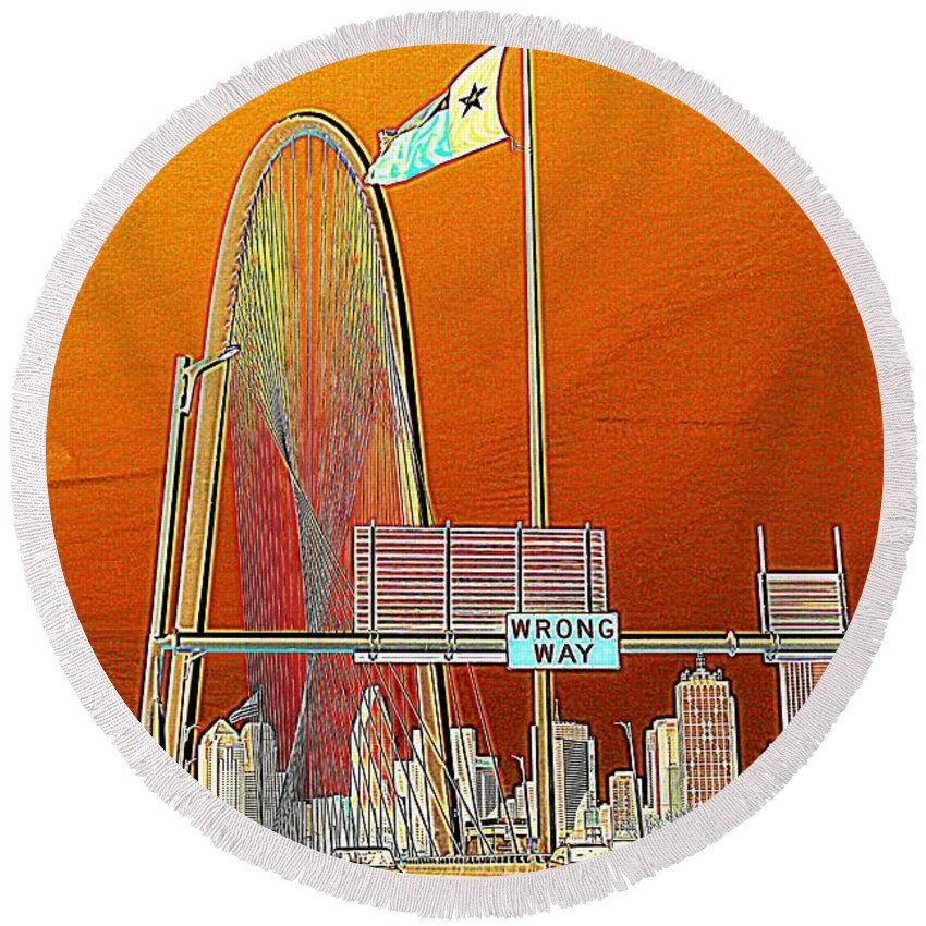 Cityscape Round Beach Towel featuring the photograph Mhh Bridge Abstract by Diana Mary Sharpton