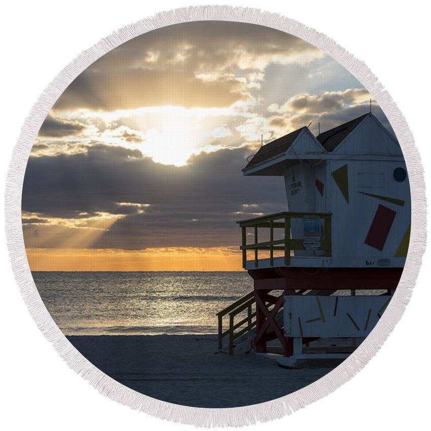 Miami Round Beach Towel featuring the photograph Miami Beach Life Guard House Sunrise 2 by Toby McGuire