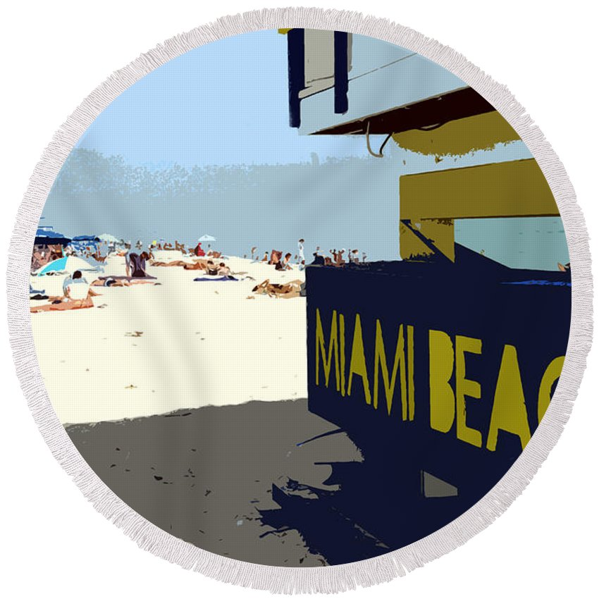 Miami Beach Florida Round Beach Towel featuring the photograph Miami Beach Work Number 1 by David Lee Thompson