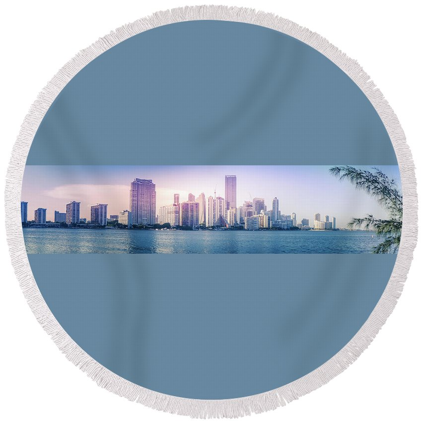 America Round Beach Towel featuring the photograph Miami City Skyline by Art Spectrum