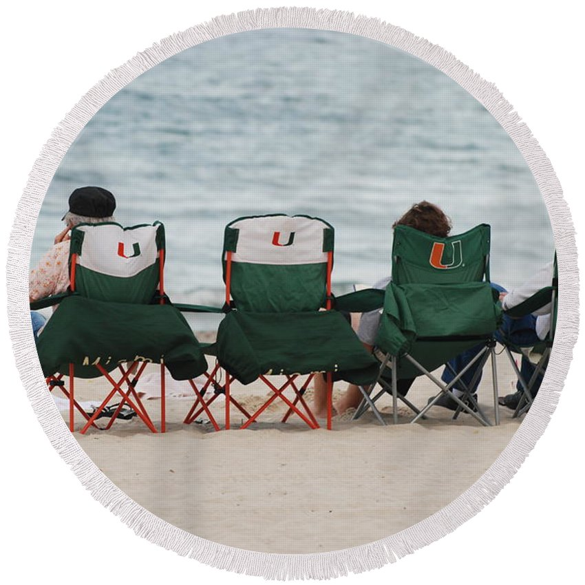 University Of Miami Round Beach Towel featuring the photograph Miami Hurricane Fans by Rob Hans