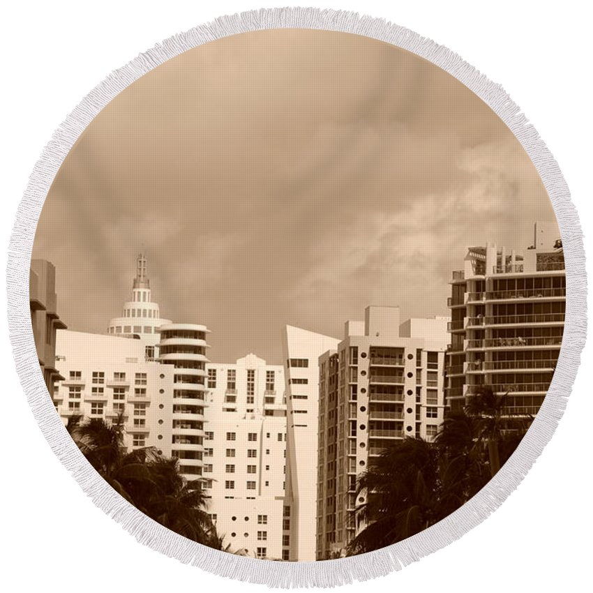 Sepia Round Beach Towel featuring the photograph Miami Sepia Sky by Rob Hans