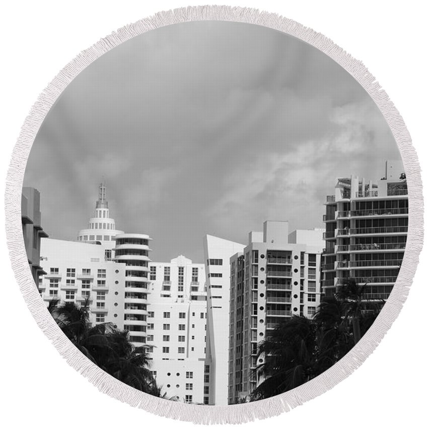 Black And White Round Beach Towel featuring the photograph Miami Sky by Rob Hans
