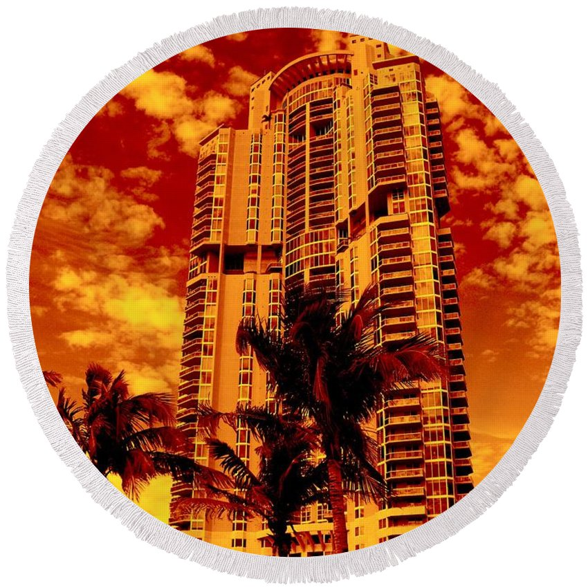 Miami Prints Round Beach Towel featuring the photograph Miami South Pointe IIi by Monique's Fine Art